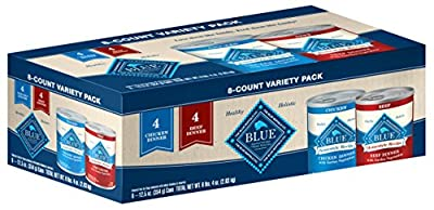 Blue Buffalo Homestyle Recipe Natural Adult Wet Dog Food Variety Pack, Chicken & Beef 12.5-oz can (8 count- 4 of each flavor)