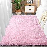 Comee Weicher Wohnzimmer-Teppich für Schlafzimmer, flauschiger Teppich für Kinderzimmer, moderner Zottelteppich, Heimdekoration, gemütlich, für Babys, Jungen, abstrakter Akzent, Babyrosa, 90 x 150 cm