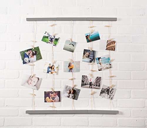 DII Home Traditions Floating Photo Display DIY Photo Collage Set with Twine Clothesline, Natural Wood Wall Mounts, and…  