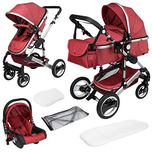 ib style® SOLE 3 in 1 Kombi Kinderwagen | inkl. Auto Babyschale | Zusammenklappbar | inkl. Regen- & Mückenschutz | 0-15kg |Rot/Gestell: Silber