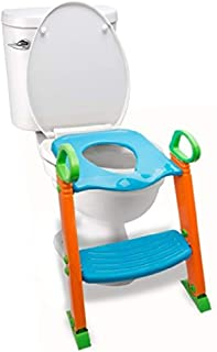 Potty Toilet Seat with Step Stool Ladder, (3 in 1) Trainer for Kids Toddlers W/Handles. Sturdy, Comfortable, Safe, Built in Non-Slip Steps W/Anti-Slip Pads. Excellent Potty Seat Step Boys Girls Baby