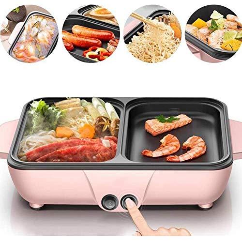 EnweNge Grill Und Hot Pot Doppeltopf, elektrischer Grillgrill Indoor-Hot Pot Chafing Dish mit 2 Temperatureinstellungen, Antihaft, Leicht Zu Reinigen für Haushaltsessen
