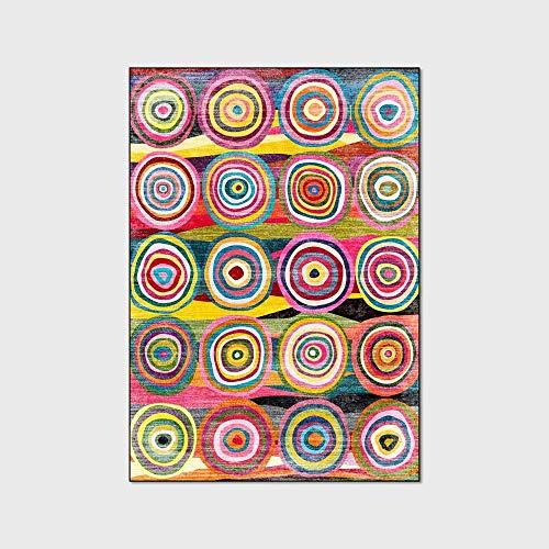 Alfombra Bohemia Alfombra Multicolor Con Diseño Rayas Circulares Alfombra Impermeable Y Antideslizante Alfombra Yoga Para Sala De Estar Dormitorio Mesa Centro Decoración Del Hogar,50x120cm(20x47inch)