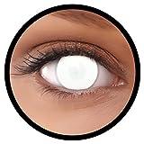 Farbige Kontaktlinsen weiß Dead Zombie 60% Sicht + Behälter, weich, ohne Stärke in als 2er Pack (1 Paar)- angenehm zu tragen und perfekt für Halloween, Karneval, Fasching oder Fastnacht Kostüm -