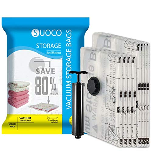 SUOCO Vacuum Storage Bags 8 Pack (4 x Large, 4 x Jumbo) Space Saver Compression Bags with Hand Pump