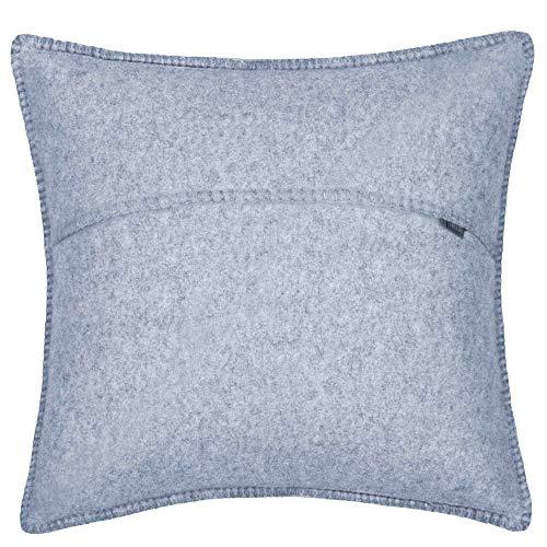 Soft-Wool-Kissenbezug – mit Häkelstich – weiche, hochwertige Sofa-Kissenhülle aus Naturmaterialien – 50x50 cm – 505 powder blue – von 'zoeppritz since 1828'