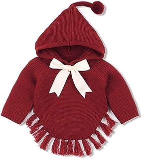 402b16d6be QIQI Baby Hooded Fiocco Maglia Felpa con Cappuccio Maglia Giacca in Cotone  Cardigan Manica Lunga Vestito