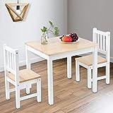 Cocoarm Esszimmergruppe mit Esstisch und 2 Essstühlen Holz Home Esstisch Stühle Set Küche Esstisch Wohnmöbel(One Table Two Chairs Set)