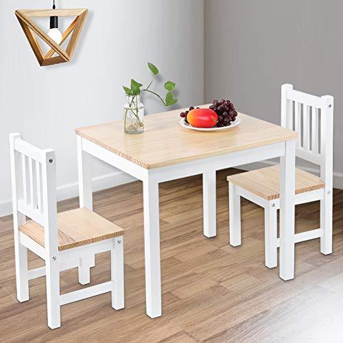 Wakects Juego de mesa de comedor y sillas de madera con 1 mesa, 2 sillas, juego de comedor de pino para casa, cocina, salón, color natural (pino)