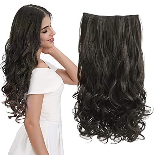 """REECHO 20"""" 1-Pack 3/4 Full Head Curly Wave Clips in on Synthetic Hair Extensions Hairpieces for Women 5 Clips 4.5 Oz per Piece - Black brown"""