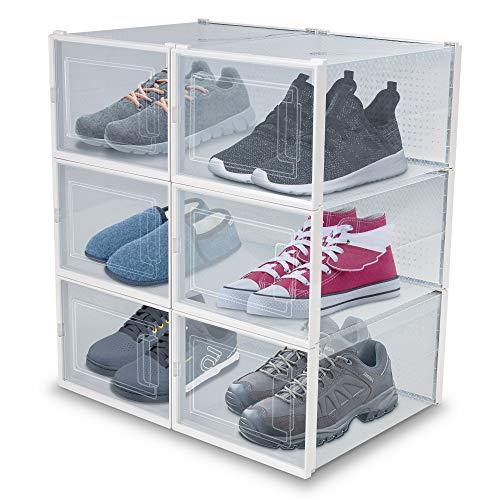 achilles Schuh-Boxen 6er Set Aufbewahrungs-Regal für Schuhe Faltbar und Stapelbar Schuh-Organizer Schuh-Schrank mit transparenter Tür Stapel-Kasten Lager-Kasten Schuh-Schachtel bis Größe 47