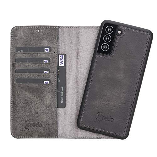 FREDO Funda de piel compatible con Samsung Galaxy S21 Ultra desmontable 2 en 1, incluye tarjetero para Samsung S21 Ultra, funda con cierre magnético, hecha a mano, color gris