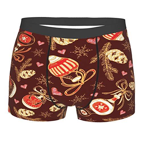 Herren Boxershorts, atmungsaktiv, weich, elastisch Gr. L, Golden Christmas and New Year
