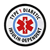 TYPE 1 DIABETIC Insulin Dependent Medical Alert 4 inch Black Rim Sew-on Patch