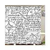 AnazoZ Duschvorhang Badewannevorhang Mathematik Wasserdicht Anti-Schimmel inkl. 12 Vorhanghaken Bad Vorhang für Badezimmer Wohnaccessoires Set Badewanne - Stil 3 150x200cm
