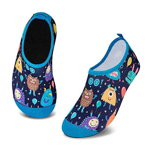 Escarpines de Baño para Niños Zapatos de Agua de Secado Rápido y Antideslizante Zapatos de Agua Bebé Niño Niña Zapatos de por Parque Acuático(Pequeño Monstruo,8.5/9 UK Child,26/27 EU