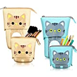 2 Pieces Transformer Stand Store Pencil Holder Canvas PU Cartoon Cute Telescopic Pencil Organizer Cosmetic Makeup Bag Stationery Pen Case Box with Zipper (Black and Gray Cat)