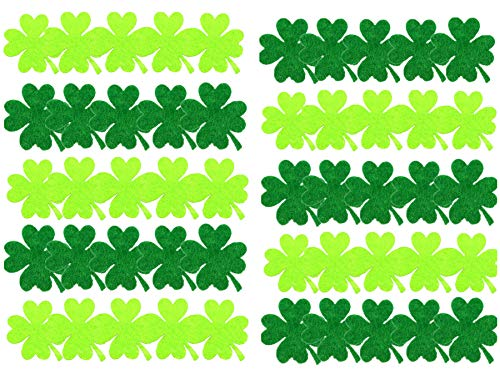 50pcs Assorted 2 Colors Shamrock Felt Stickers 4 Leaf Clover Applique Embellishment for Necklace Bracelet Earrring Jewelry Making Scrapbook Card Making ST Patricks Day Decorations