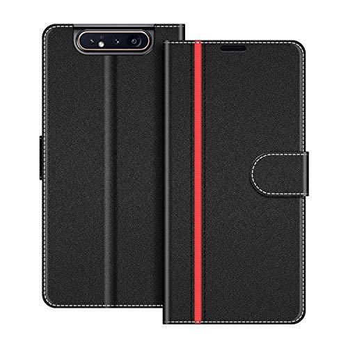 COODIO Handyhülle für Samsung Galaxy A80 Handy Hülle, Samsung Galaxy A80 Hülle Leder Handytasche für Samsung Galaxy A80 Klapphülle Tasche, Schwarz/Rot
