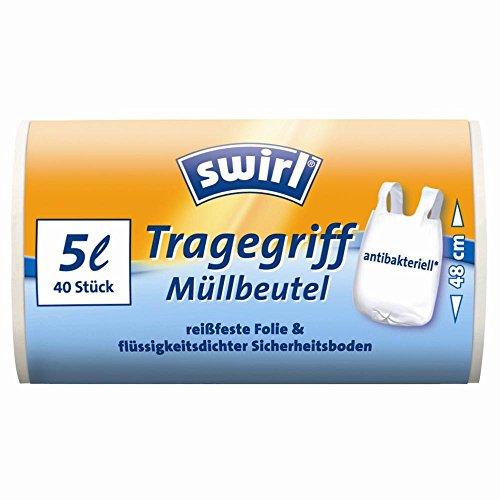 SWIRL Rouleau 40 sacs poubelle 5 litres Anti bactérien à poignées Transparent