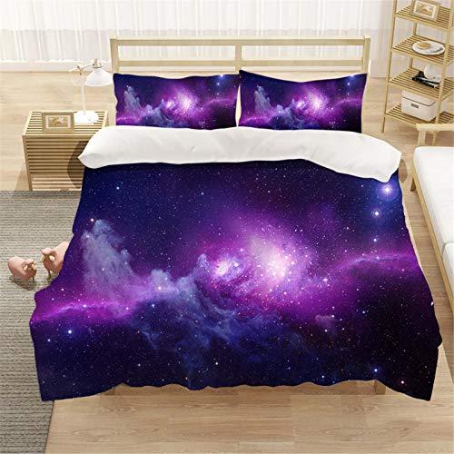 SMNVCKJ Juego de ropa de cama con funda de edredón y fundas de almohada, algodón con impresión digital 3D, 100% microfibra, para adultos y niños (12,individual 140 x 210 cm)