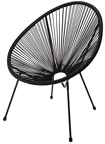 idooka Black Wire Moon Chair for Garden, Patio, Balcony, Conservatory - Weather Resistant & Sturdy Design - 4 Steel Legs - PE Rattan String Lounge Seat - Contemporary Modern Egg Style