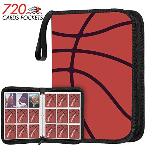 KITOYZ 720 Pockets Basketball Binder Sleeves, Carrying Case with Basketball Card Sleeves Card Holder Album Protectors Set for Football Baseball and Sports Card