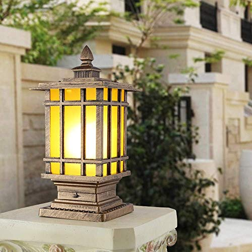 QULONG Poste Tradicional Victoria para Exteriores Bolardo Lámpara de Pedestal Luz de Poste de Porche de Aluminio Cuadrado IP55 Linterna de Vidrio Impermeable a Prueba de Lluvia Puerta de Patio Entr
