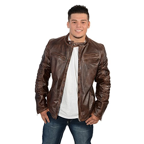 Milwaukee Leather SFM1805 Men's Brown Side Stitch Cafe Racer Lambskin Leather Jacket - X-Large