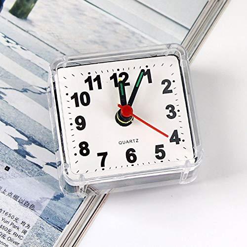 Creativo y bonito reloj despertador cuadrado de cristal pequeño con forma de reloj de escritorio, para dormitorio, noche o oficina