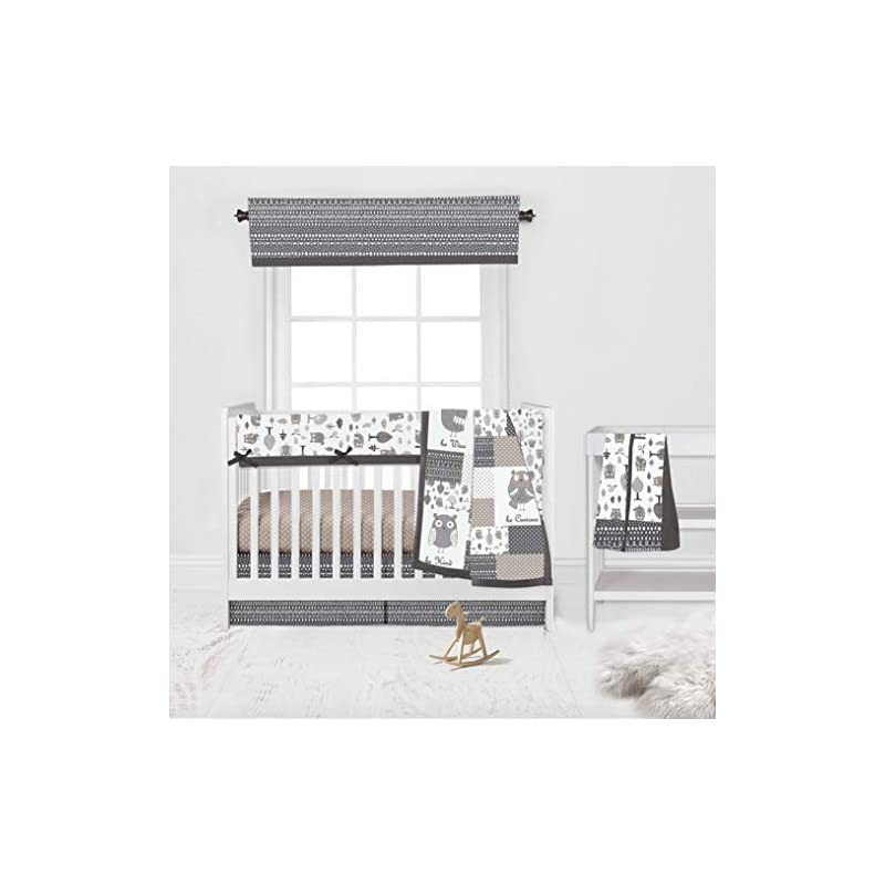 crib bedding and baby bedding bacati - neutral 100 percent cotton 6 piece nursery baby crib bedding set with long crib rail guard cover for boy/girl us standard cribs (owls grey/beige)