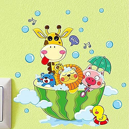 Animales lindos en el baño Ducha Bañera de la pared Pegatinas de pared Pegatinas para niños Habitación para niños Decoración del hogar Decoración del arte