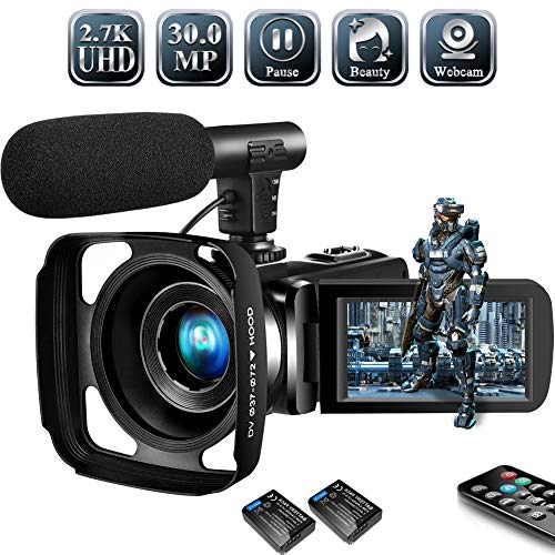 Video Camera Camcorder,Vlogging Camera for Youtube 2.7K Full HD 30MP 18X Digital Video Camcorder with Microphone, Lens Hood,2 Batteries