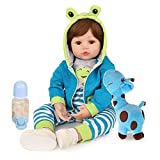 Reborn Baby Dolls Boy, 18 inch Lifelike Real Baby Dolls Handmade Weighted Body Reborn Toddler Dolls with Blue Frog