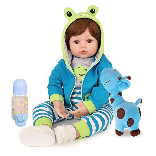 Reborn Baby Dolls Boy, 18 inch Lifelike Real Baby Dolls Handmade Weighted Body Reborn Toddler Dolls with Blue Frog