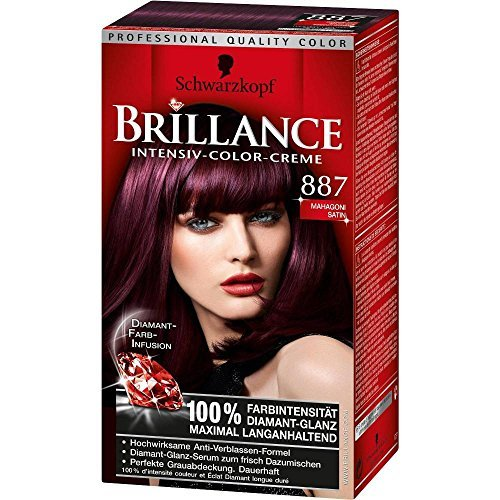 Schwarzkopf Brillance Intensive-Color-Creme/ 887 Mahagoni Satin/Permanente Haarfarbe/Coloration/ Stufe 3