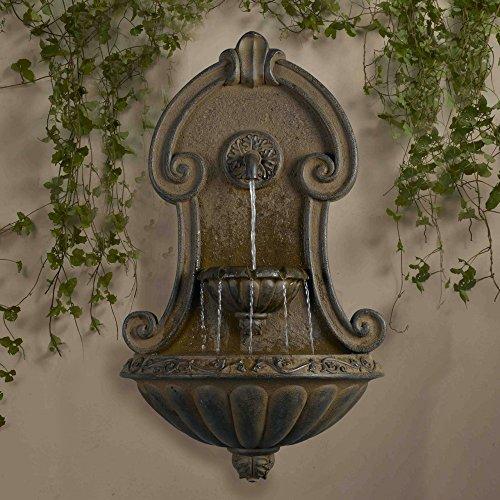 "33"" Italian Style Copper Finish Cascading Outdoor Patio Garden Wall Water Fountain"