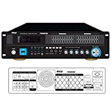 6-Channel Bluetooth Hybrid Home Amplifier - 2000W Home Audio Rack Mount Stereo Power Amplifier Receiver w/Radio, USB/AUX/RCA/Mic, Optical/Coaxial, AC-3, DVD Inputs, Dual 10 Band EQ - Pyle PT6060CHAE