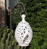 handgefertigtes Windlicht/Laterne aus echter Terracotta, zum Hängen und Stellen, Tolle Deko für den Garten/Terrasse Tisch (Weiß)
