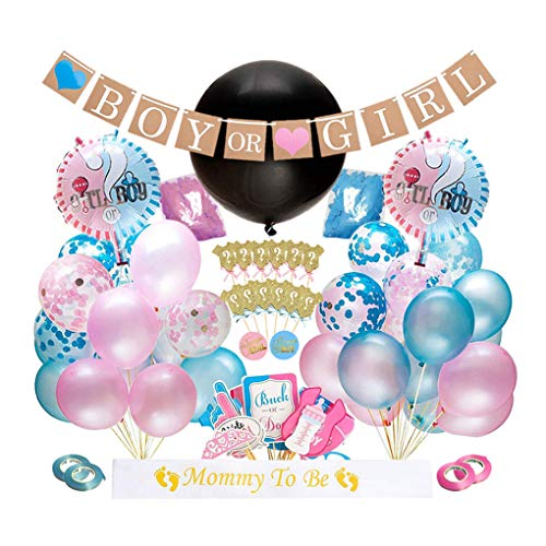 Dsaren 103 Pcs Artículos de Fiesta de Gender Reveal Niño o Niña Sorpresa Banner Confeti Globos de Látex Photo Booth Props Cupcake Toppers Baby Shower Decorations