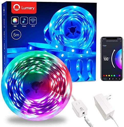 Lumary Ruban LED 5M 5050 RGB Bande LED 12V, 16 Millions de Couleurs , Multicolore App Contrôle,Sync avec Musique, avec Alexa et Google Home, decoration chambre Lumineux pour Fête Maison, Bar,Mariage