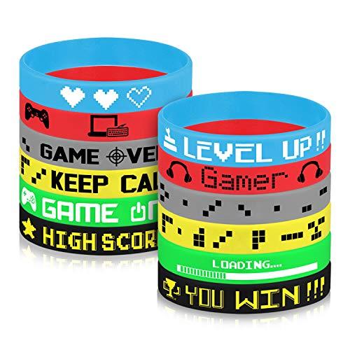 TUPARKA 36 Pcs Gaming Party Supplies Bracelet en Silicone, Le thème du Jeu vidéo Favors Bracelets,Fournitures Pour Fête d'anniversaire Baby Shower Party Favors, 6 Styles