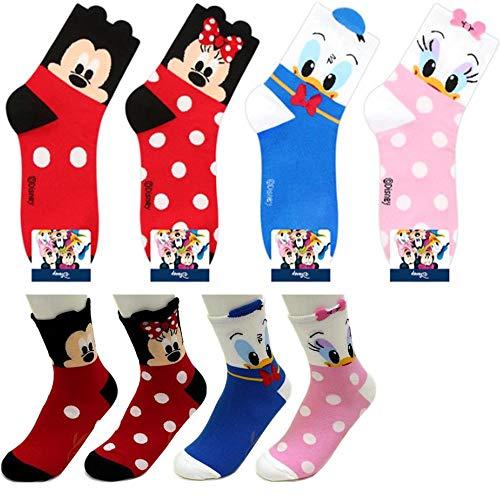 Charakter Mannschafts Socken 4 Paaren - Mickey Maus, Minnie Maus, Ente Donald, Ente Daisy