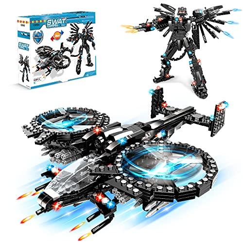HOGOKIDS STEM Bausteine Spielzeug- 619 PCS SWAT Roboter 2 in 1 Konstruktionsspielzeug Kreative Ziegel Pädagogische blöcke für Jungen Mädchen Alter 5 6 7 8 9 10 11 12 Jahre Kinder