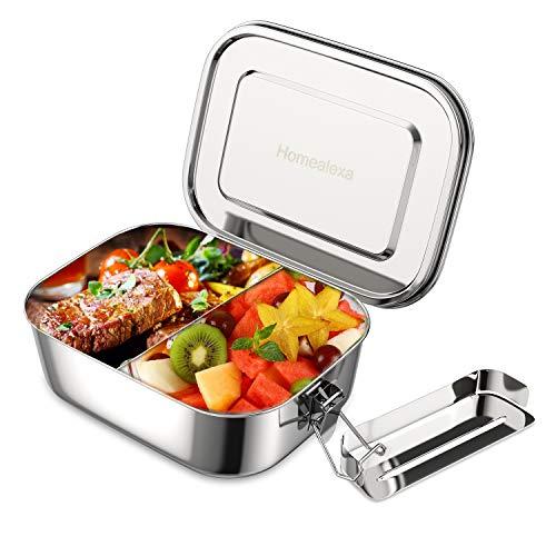 Homealexa Edelstahl Brotdose auslaufsicher, inkl. flexiblem Trennsteg, 1400ml Premium Lunchbox, 100% BPA frei große Brotbox zum Wandern/Reisen/Schule Kinder und Erwachsene