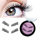 3D Magnetic False Eyelashes Handmade Natural Look Longer Thicker Eyelash Reusable False Magnetic Eyelashes 2 Pairs 4 Pieces