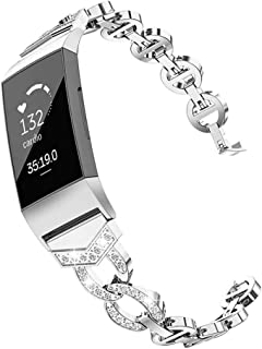 Adjustable Watchband Replacement Compatible for Fitbit Charge 3, Stainless Steel, Jewelry Decor