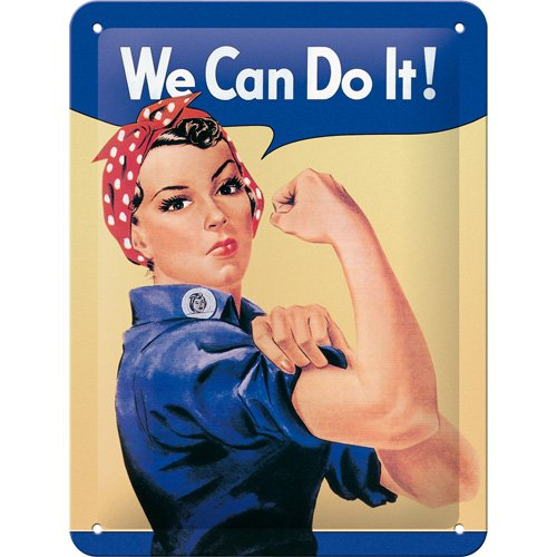 NOSTALGIC Art 26120 USA We Can do it, Tin Plate Sign 15 x 20 CM