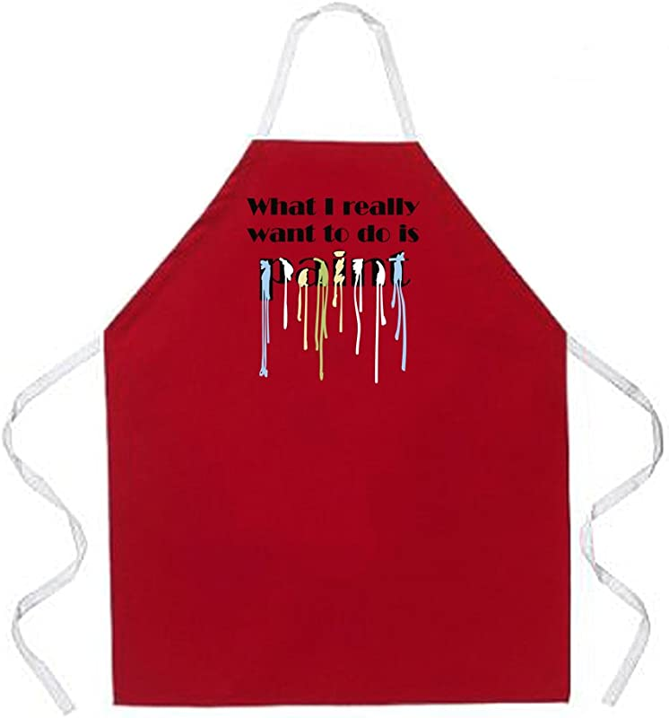 Attitude Aprons Fully Adjustable Want To Paint Apron Red