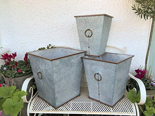 Set of 3 Extra Large Metal Garden Planters Vintage Style Rustic Plant Pot Tub Containers